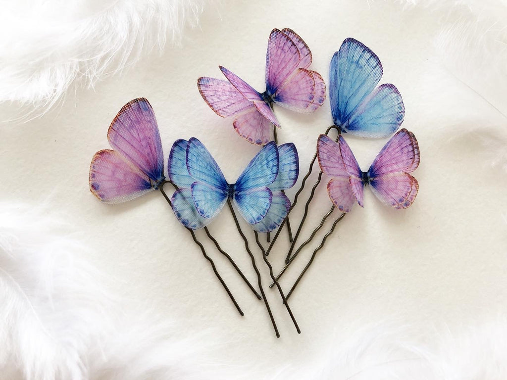 Purple and Blue Butterfly Hairpins Set