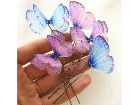 Purple Butterfly Hairpins Set