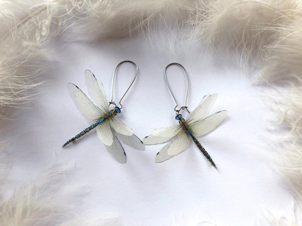 Magic Ivory Dragonfly Earrings of Pure Silk