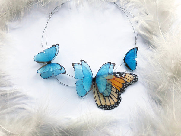 "Sapphire Blue Necklace with Silk ""Morpho"" Butterflies and ""Monarch"" Butterfly wing"