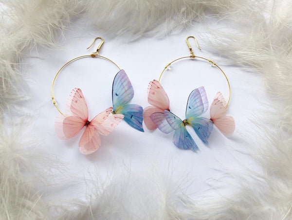 "Floral design Earrings with ""Orchid"" Butterflies"