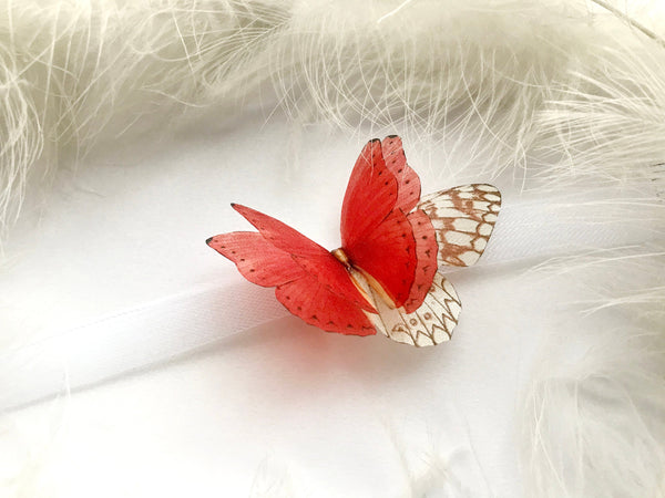 "Stunning Choker with 3D ""Ruby"" Butterfly Wings of Silk"