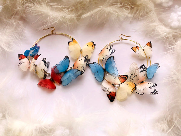 Mega Size Hoop Earrings with 3D Silk Butterflies in Boho Chic style