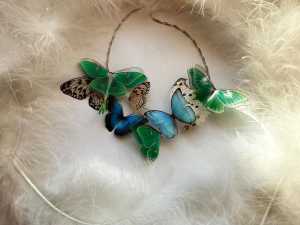 Emerald Necklace Butterfly Garden of Silk Butterfly Wings