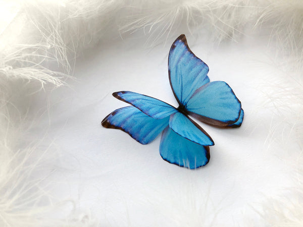 Big Sapphire Butterfly decoration of silk