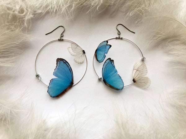 "Hoops Earrings with ""Sky Blue"" Butterfly Wings for Creative Look"