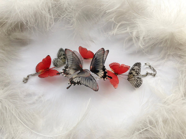 Bracelet with Midnight Black and Ruby Red Butterflies