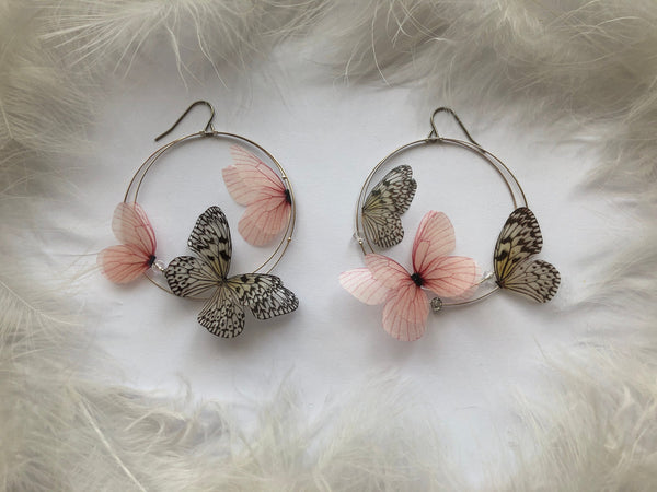 Special design Magic Hoop Earrings with Silk Butterflies