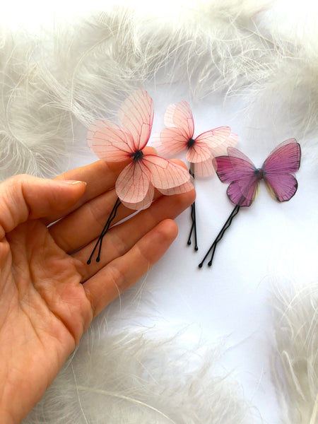 Set Violet and Light Pink Silk Butterfly Hairpins for Creative Hairstyle, Butterfly Hair Clips, Violet Butterfly, Pink Butterfly