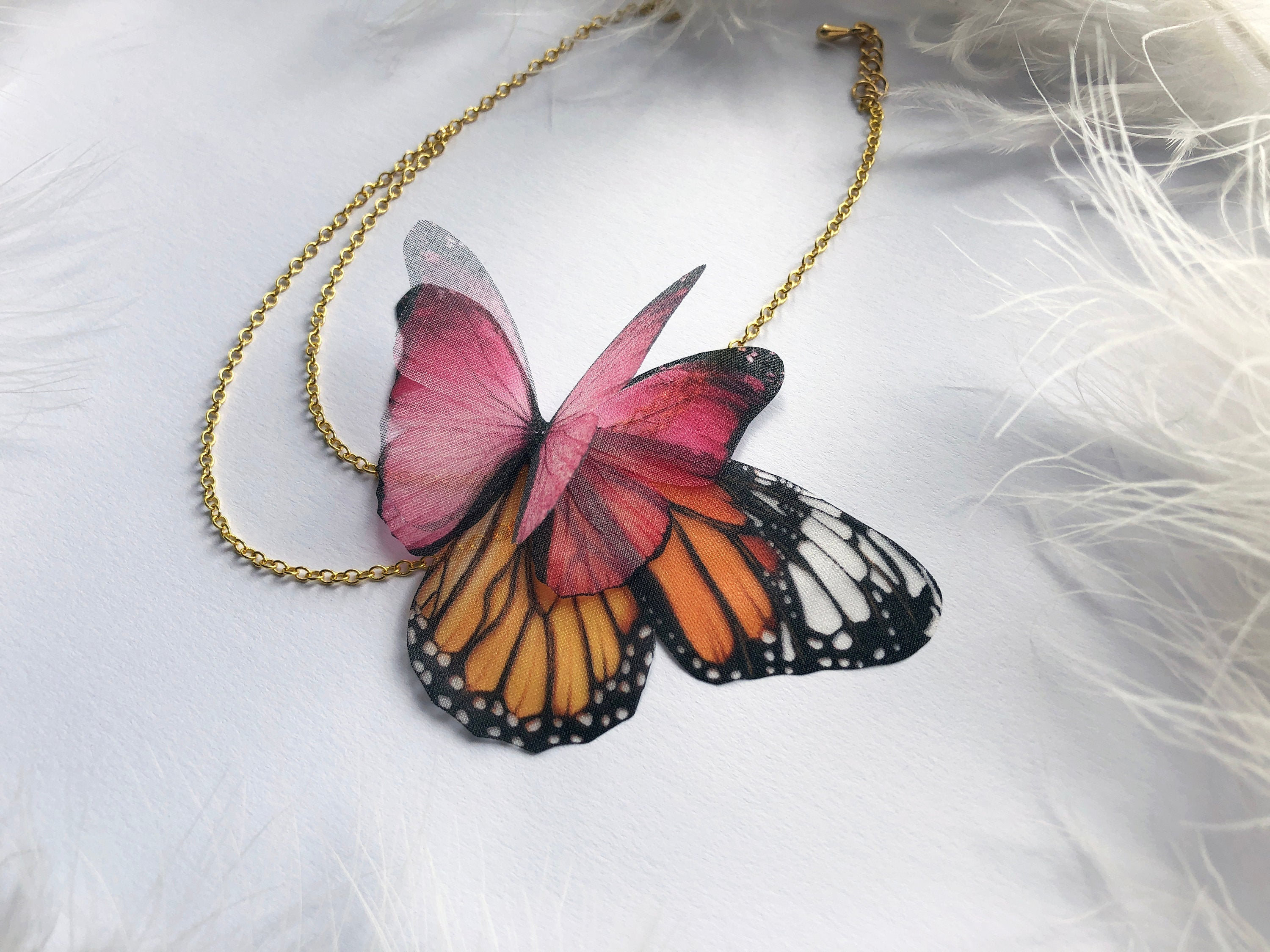 Custom Design Magic Anklet with Pink Butterfly & Monarch Butterfly Wing