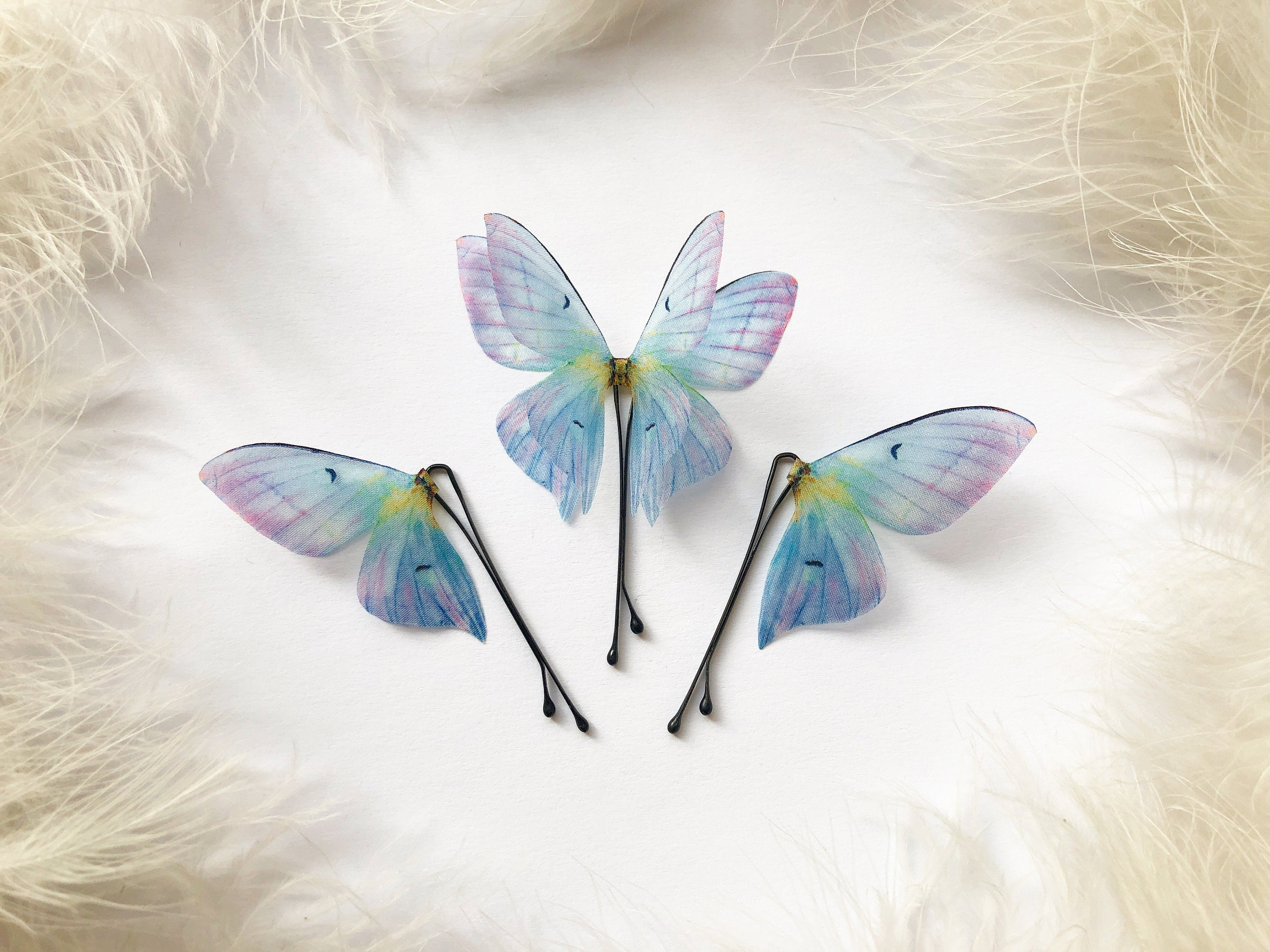 Something Blue: Set of 3 Orchid Butterfly Hairclips