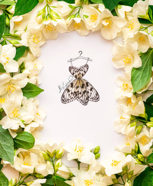 3D Illustration Silk Butterfly Dress different sizes