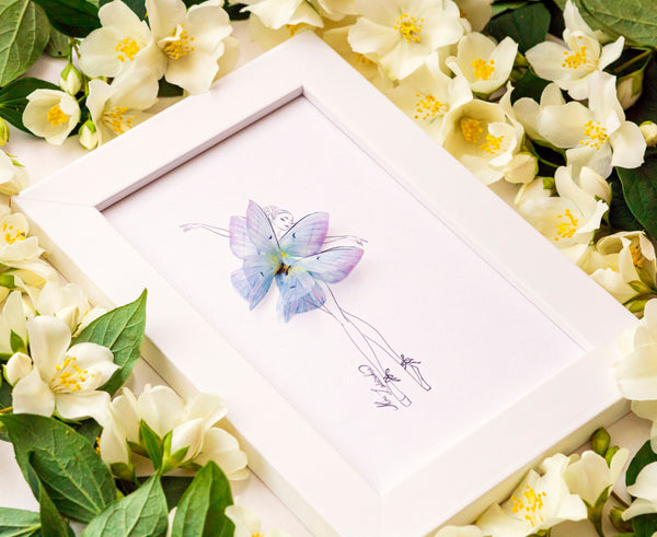 3D Orchid Butterfly Girl Illustration with Frame and many sizes