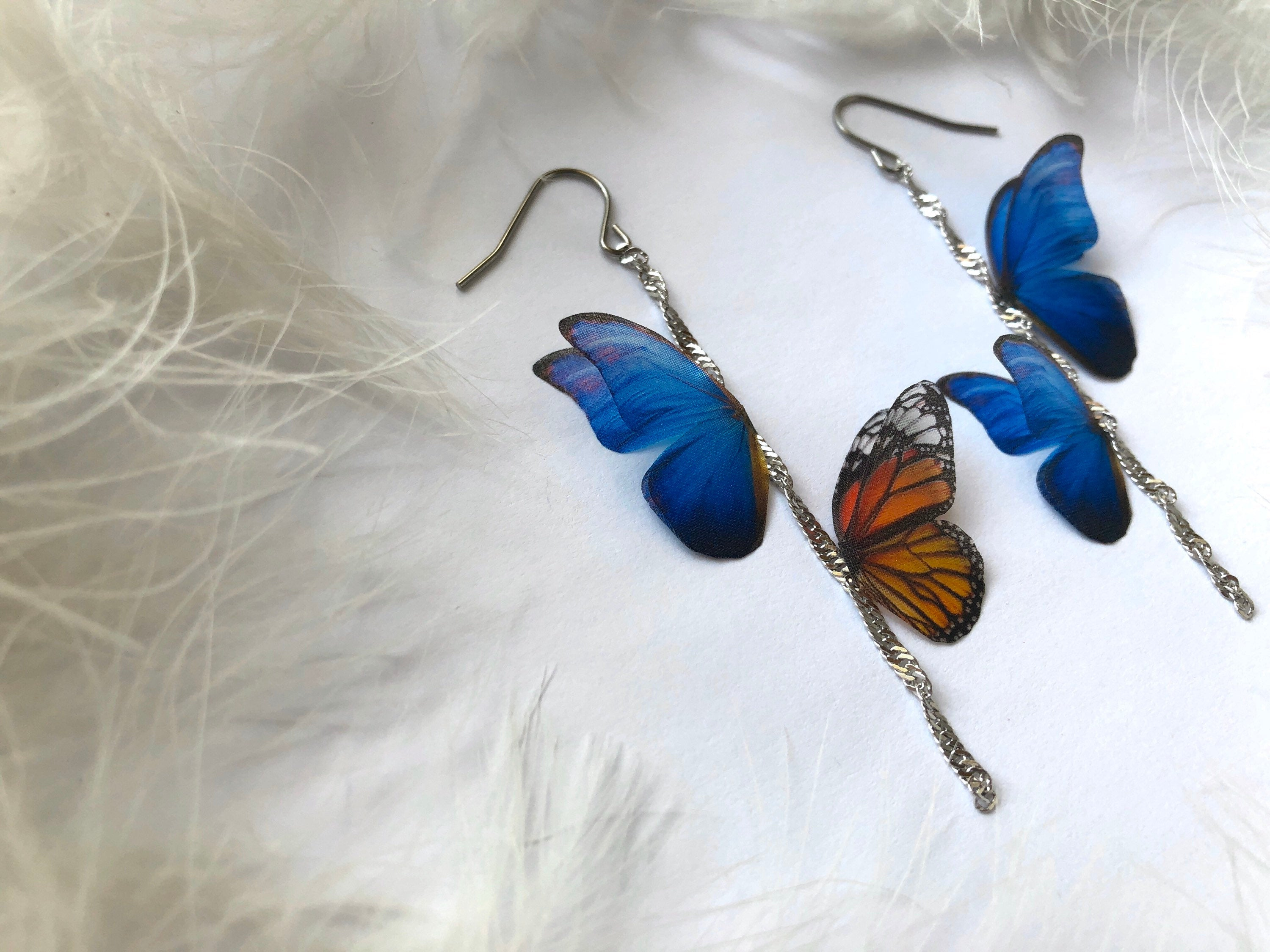 "Light Earrings with Monarch and ""Sapphire"" Butterflies"