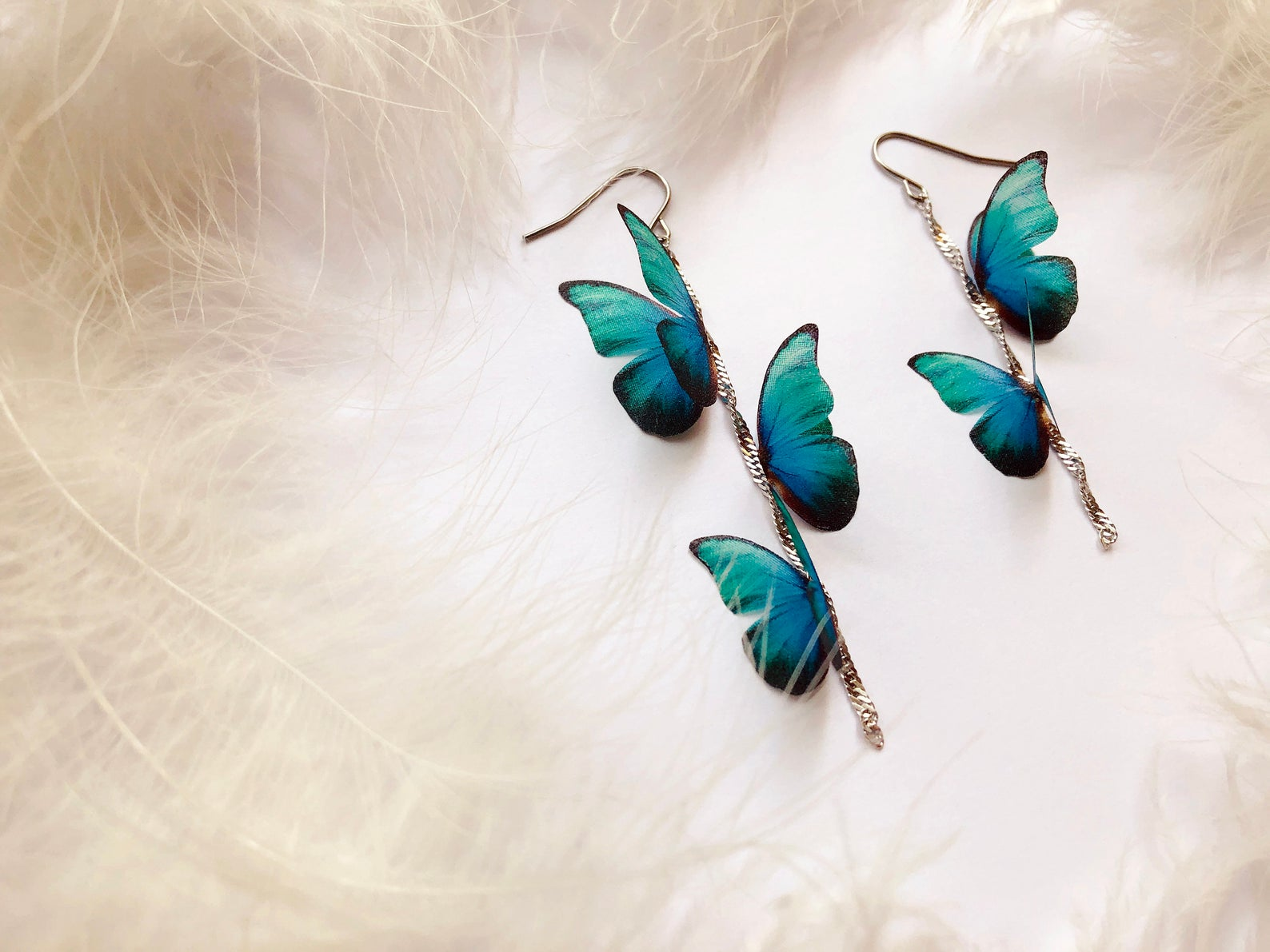 Emerald Butterfly Earrings with Chains