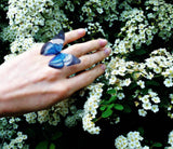 Ring with Egyptian Blue Silk Butterfly