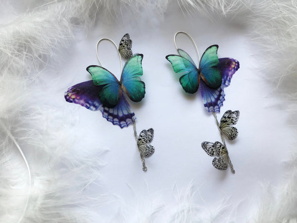 Mismatched Earrings with Butterflies