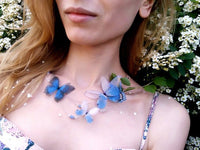 "Blue ""Ocean Wave"" Butterflies Necklace"