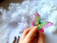 Hair Pin with Emerald Pink Butterfly