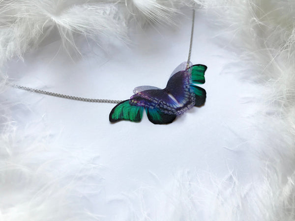 Night Paris Butterfly Necklace on Silver Chain