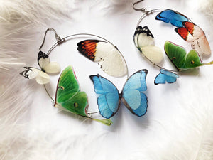 "Romantic Hoop Earrings with ""Floral"" Butterflies"