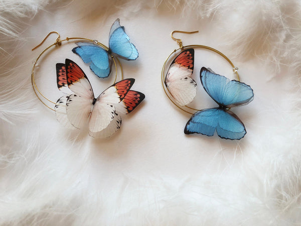 """Foxy"" and ""Winter"" Butterflies Hoop Earrings"