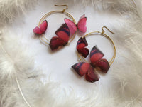 Big Hoop Earrings Ruby Butterflies