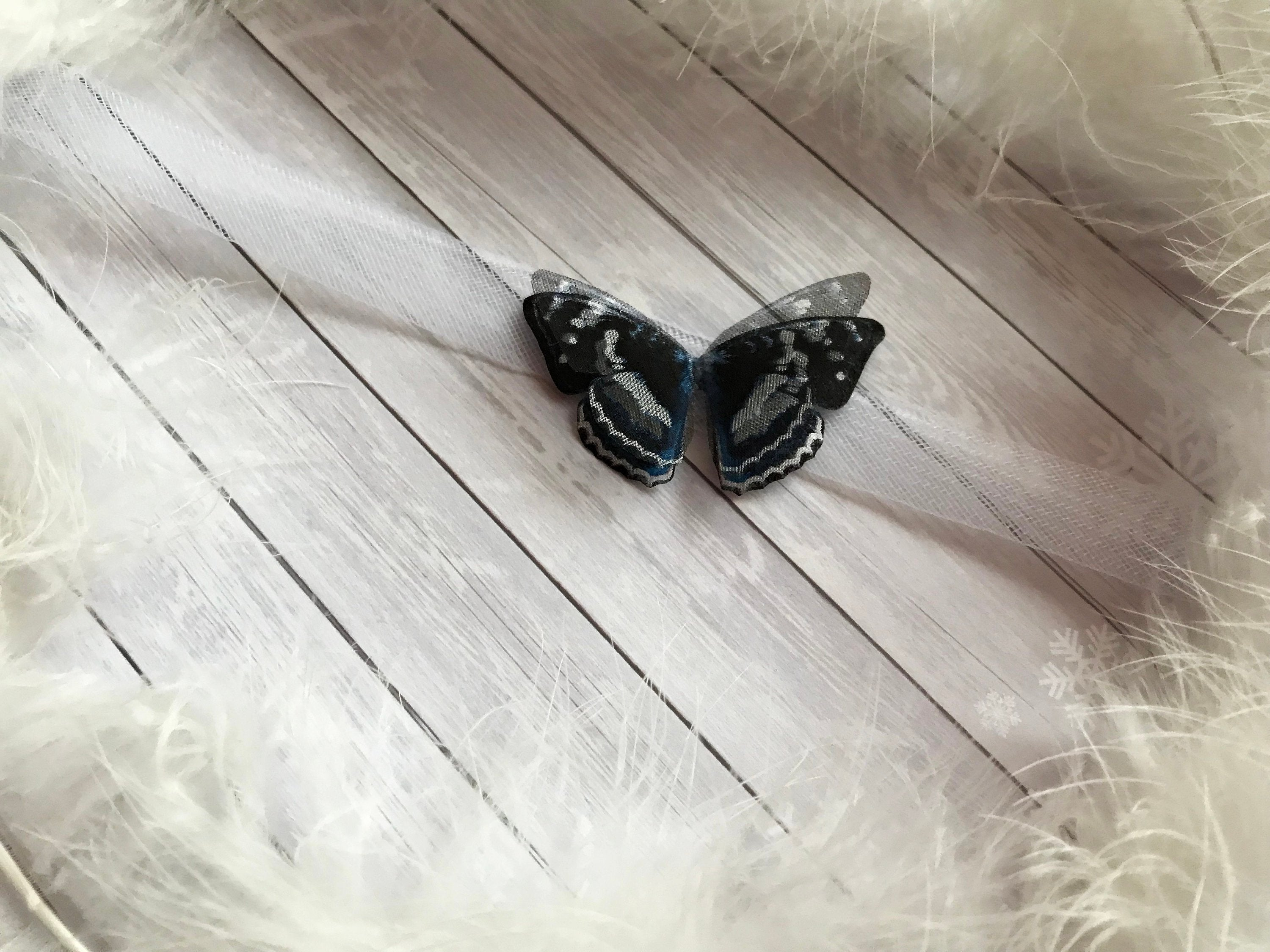 Tattoo Choker with Midnight Black Butterfly