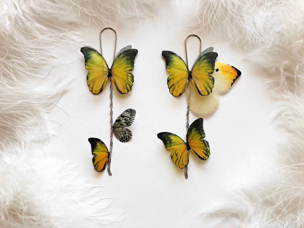 Asymmetric Earrings with Golden Butterflies