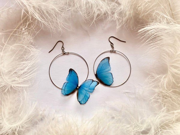 Sapphire Butterfly Hoops Earrings