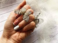 Set of Bohemian style Silver Rings with Butterflies