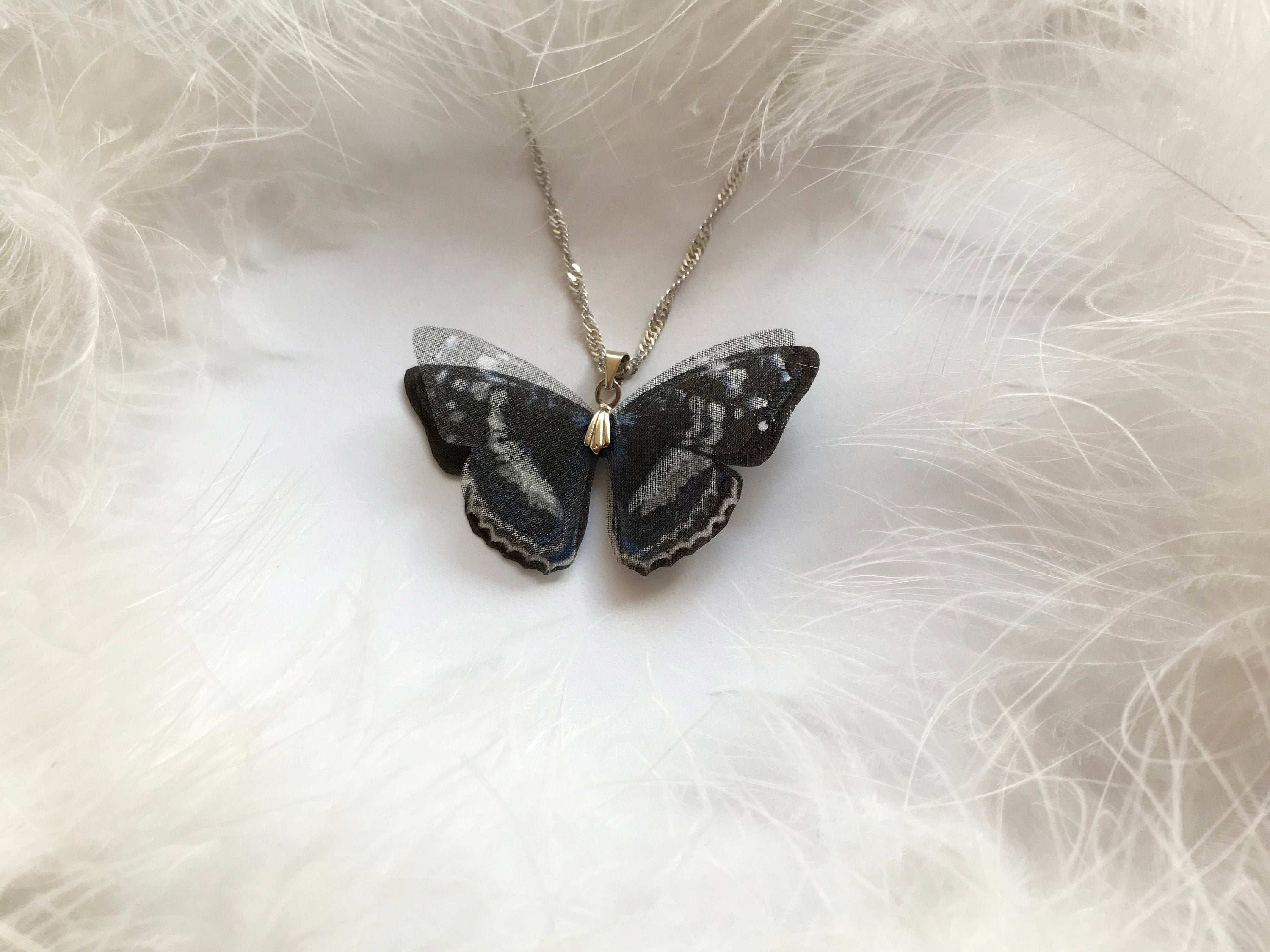 Midnight Black Pendant with Silk Butterfly Wings