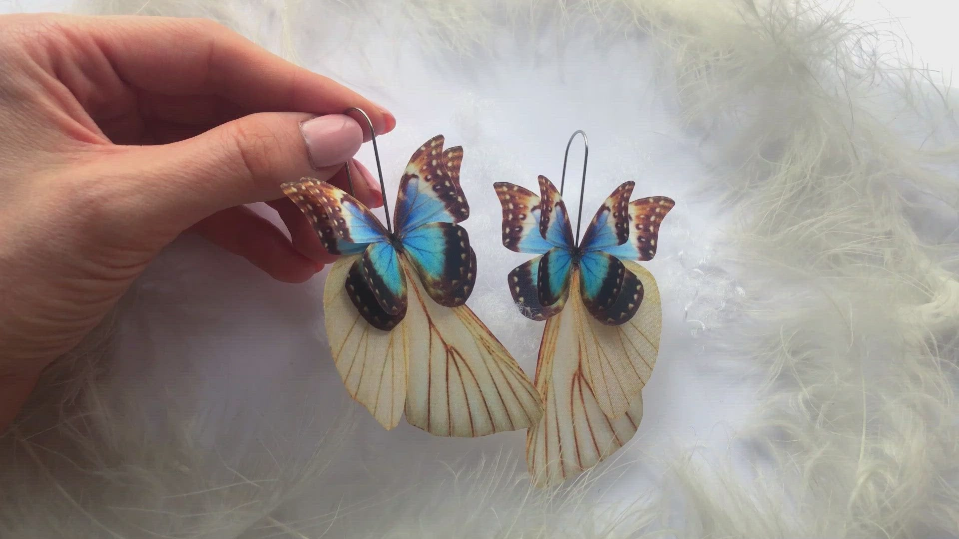 "Charming Blue Butterfly Earrings, ""Sapphire"" and Moth Wings Butterfly Earrings"