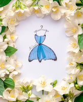 3D Boho Chic Illustration with Blue Butterfly Dress for home decor