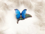 Bright Brooch with 3D Morpo Butterfly and Luna Moth Wing