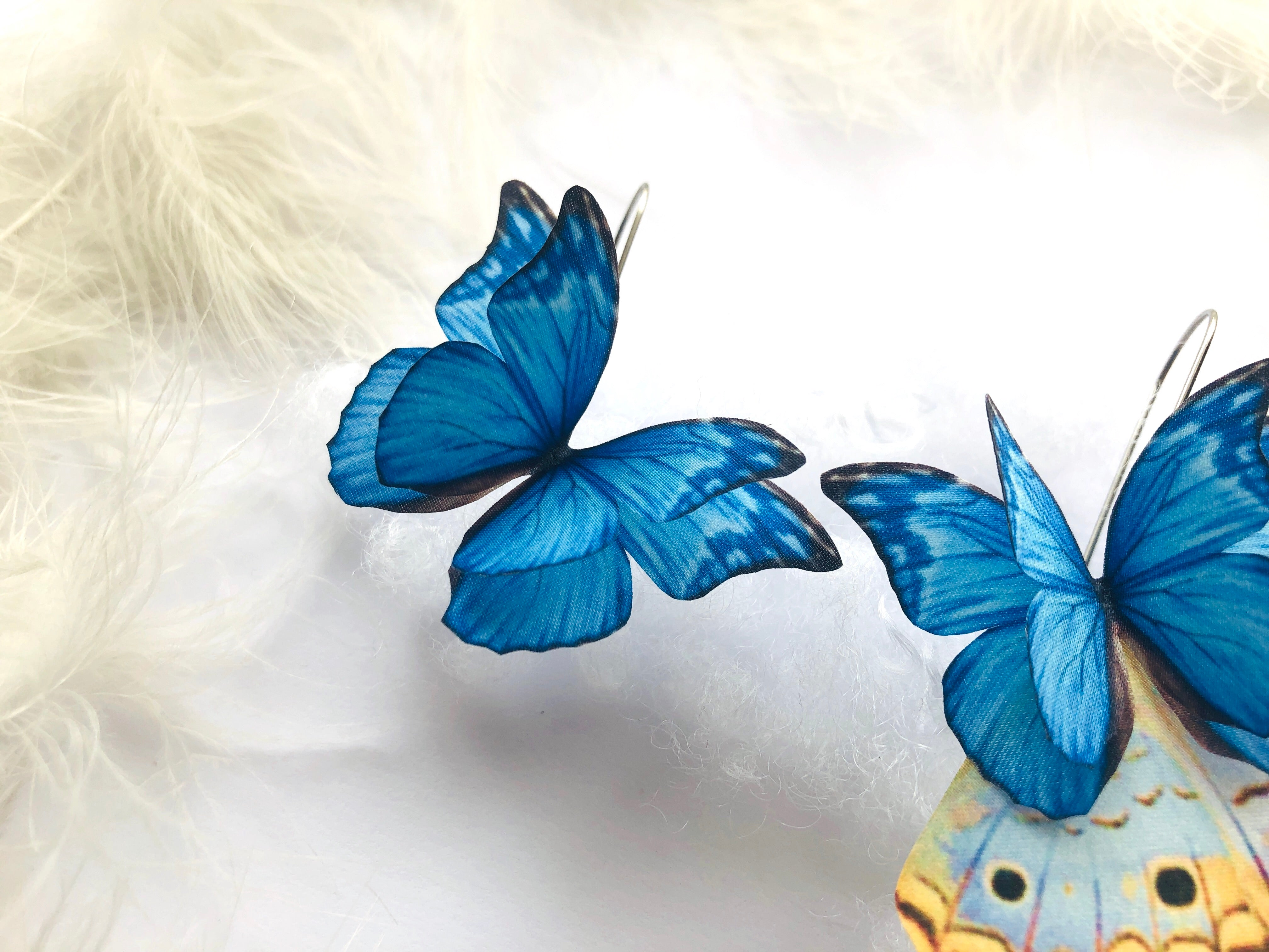 Azure Blue Butterfly Earrings, Asymmetrical Butterfly Earrings