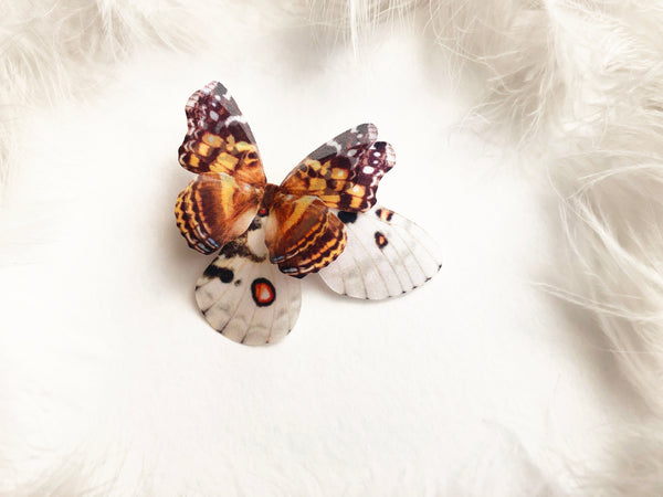 Boho Chic Brooch with Brown Butterfly and Big Butterfly wing