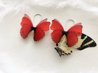 Boho Chic Ruby Red Earrings with Silk Butterflies
