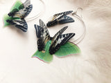 Hoop Earrings with Silk Butterflies and Luna Moth Wings for anyone who loves Butterflies and Moths