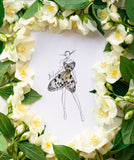 3D Illustration Silk Butterfly Girl different sizes