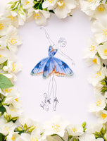 3D Butterfly Girl Illustration with Frame and many sizes