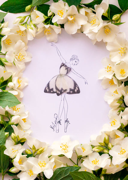 3D Ivory Butterfly Girl Illustration with Frame and many sizes