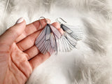 Creative Earrings with Bright Ivory Butterfly Wing
