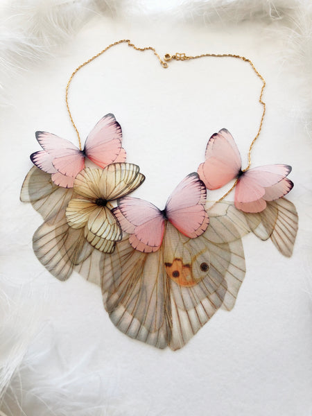 Boho Chic Necklace with Pink Butterflies for everyone who loves Butterflies