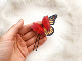 Ruby Red Hair pin with Silk Butterfly and Monarch Butterfly Wing