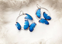 Big Hoop Earrings with 3D Sapphire Blue Butterflies