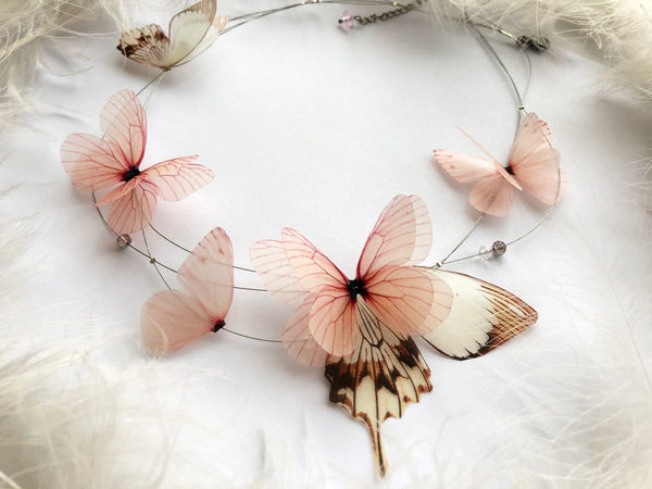 "3 Strands Necklace ""Magnolias"" with Silk Butterflies and Wing"