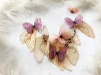 "Volume Necklace with ""Violets"" Silk Butterflies and Moth Wings"