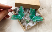 Luna Moth Emerald Earrings for everyone who loves Butterflies