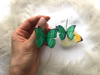 Bright Green Silk Butterfly Earrings best gift for anyone who love Butterflies